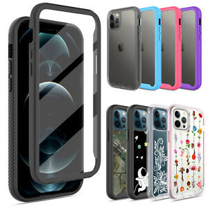 For iPhone 12 Mini Pro Pro Max Full Body Rugged Case Built In Screen Protector