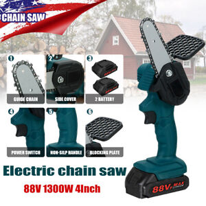 1300W 88V Mini Cordless Electric Chain Saw Wood Cutter One Hand Tool w 2 Battery