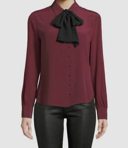 $290 Frame Womens Purple Silk Tie Draped Long Sleeve Casual Blouse Top Size S $53.96