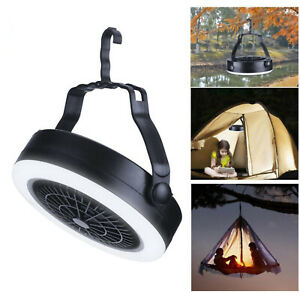 Outdoor Tent Fan with Light Rechargeable Camping Lantern Handheld Travel