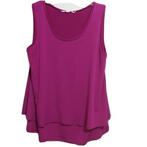 Axueh Womens Layered Top Shell Blouse Small Sleeveless Scoop Neck Plum Back $19.00