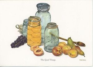 VINTAGE MASON JARS CANNING PEACHES GRAPES PEARS FRUIT SPOON BLANK NOTE ART CARD
