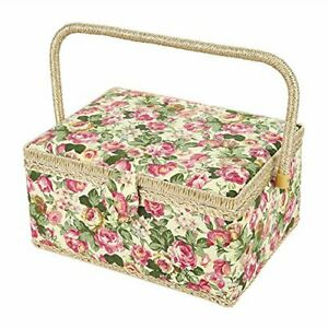 SAXTX Wooden Large Sewing Baskets with 99Pcs Sewing Kit Accessories Sewing Orga $69.98