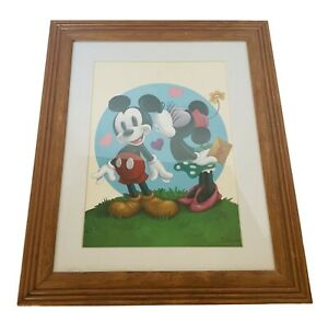 Walt Disney Framed print Peter Emmerich Signed Mickey Mouse Minnie 17X14 kissing $67.50