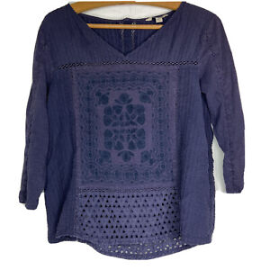 Lucky Brand Womens Blue Boho Cotton Top 3 4 Sleeve Embroidered Lace Large