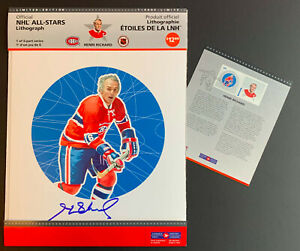 Montreal Canadien NHL All Star Lithograph amp; Stamp Set Signed By Henri Richard $34.99