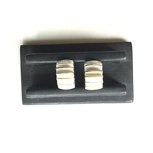 Vintage Givenchy Silver Tone Wide Half Hoop Clip Earrings With Ridges $37.00
