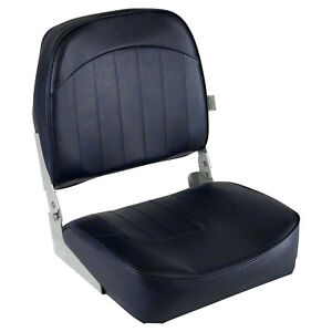 Low Back Fold Down Marine Boat Seat Outdoor Fishing Seat Cushion Navy Blue NEW