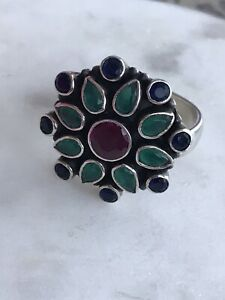 Ruby Sapphire Emerald Sterling Silver Adjustable Ring 11.9 g $35.00