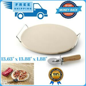 New Large Pizza Stone Round Baking Rack 13 Inches Chef Oven Natural