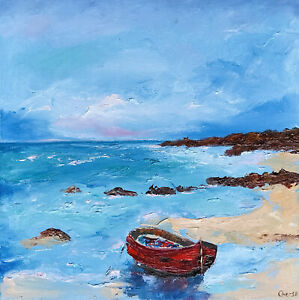 Red Boat Seascape Painting Original Art Canvas Artwork Impasto 14 by 14 in $75.00