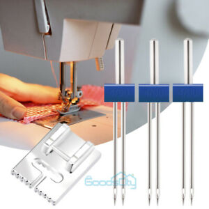 3Pack Twin Needle Double Needle Stainless Steel Sewing Machine w Presser Feet $7.79