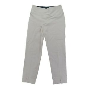 Women with Control Regular Tummy Pintuck Front Slit Ankle Pant White Medium