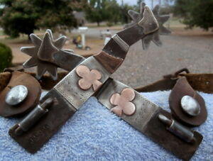 Lady Gal Leg Horse Spurs Silver Copper Brass stamped JO 99 w Leather Straps