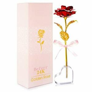 24K Gold Rose Flower Best Gift for Valentines Day Mothers Day Women Red