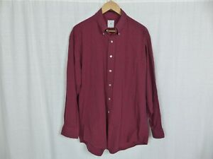 Brooks Brothers Mens Sport Shirt Long Sleeve Button Down Red 100% Cotton LARGE $14.98