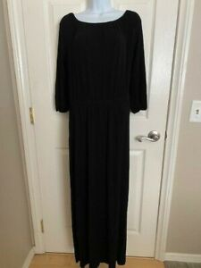 Chicos Peasant Maxi Dress Size 0 S Black Stretch Knit 3 4 Sleeve Womens $18.97