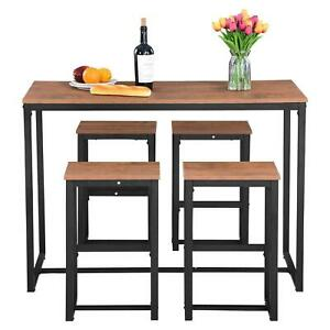 5 Piece Dining Set Table Modern Counter Height And 4 Chairs Kitchen Bar Furnitur