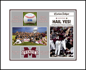 MISSISSIPPI STATE BULLDOGS 2021 CWS CHAMPS MATTED PIC OF NEWSPAPER PAGE @TEAM #2 $10.95