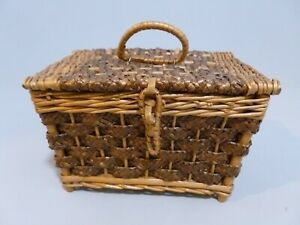 Vintage Small Wicker Lined Sewing Basket Child#x27;s Sewing Basket $16.95