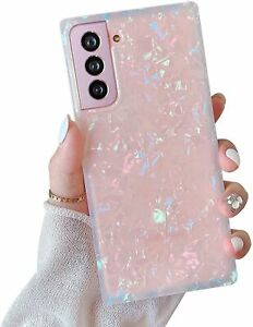 Jmltech for Samsung Galaxy S21 Case Square Clear Slim Silicone for Women Girls G