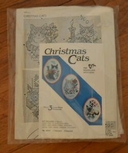 Christmas Cats Vintage Kit of 3 Counted Cross Stitch Ornaments New Sealed $11.95