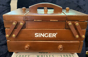 Vintage Singer Wood Fold Out Accordion Style Small Wooden Sewing Box $68.00