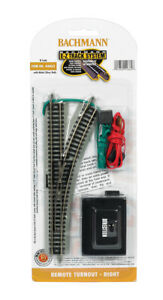 Bachmann 44862 N EZ Track Nickel Silver Right Hand Remote Switch Turnout $16.65