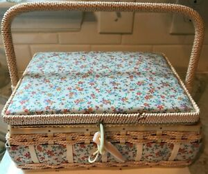 AZAR Woven Wicker Sewing Basket Box w Floral Padded Fabric Top VTG Boho $16.99