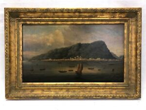 Vintage China Trade Seascape Oil Painting Hong Kong Antique 19th Century Style a $1100.00