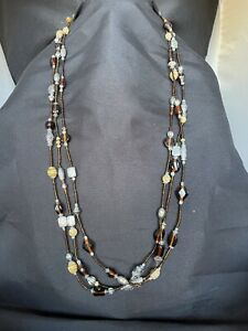 Chicos Silver Tone Brown Seed Bead Triple Strand Necklace $16.00