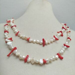 Rare 32 Red Coral White South Sea Exotic Baroque Pearl Necklace 14K Gold P $42.99