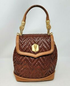 Barry Kieselstein Cord Trophy Brown Woven Leather Tote Hand Bag Vintage RARE