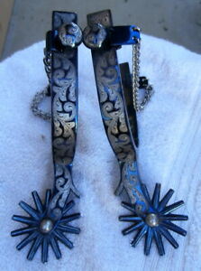 Fancy Garcia numbered Sterling Silver Inlay Blued Cowboy Spurs