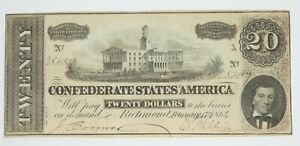 US Confederate Currency February 17th1864 $20 VERY FINE T 67 Problem Free