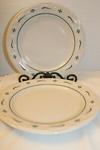 LONGABERGER LOT OF 2 DINNER PLATES WOVEN TRADITIONS GREEN USA POTTERY 10quot; $29.99