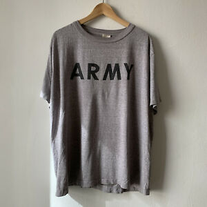Vintage Army T Shirt Mens XL Gray Faded Worn 90s $11.00
