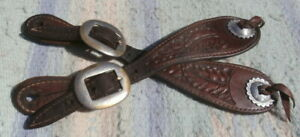 Vintage Slotted Concho Double Ply Cowboy Spur Straps Anchor Buckles