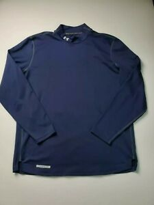 Under Armour Mens Long Sleeve Coldgear Mock Neck Shirt Size XXL Blue Fitted $20.00