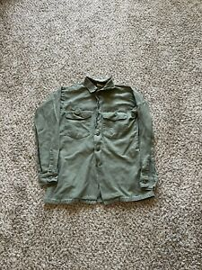Vintage Military Shirt OG 107 Sateen Fatigue Green US Army Fits Large 21 29 $30.00