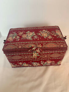 Vintage Floral Rectangle Sewing Organizer Basket with Handle $22.99