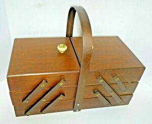 Vtg. 3 Tier Fold Out Accordion Wood Sewing Storage Box Case Dovetail Table Top $54.99