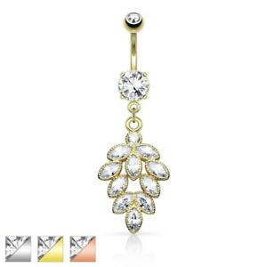 Surgical Steel Belly Button Piercing Grapevine with Zirconia $19.52