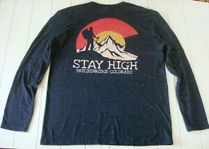 Duck Co Men L Large Colorado Heather Blue LS Comfort T Shirt STAY HIGH Graphics $11.98