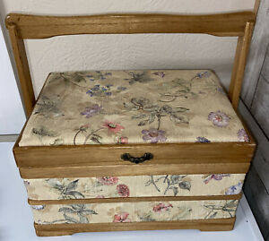 Vintage Wood Sewing Basket Organizer Caddy Box Padded Tapestry Top $21.50