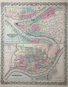 1855 Antique Pittsburgh amp; Cincinnati Map Hand Colored From Colton#x27;s Atlas $29.95