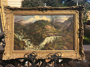 Antique Landscape Painting Oil on Board Circa 1860 80 $875.00