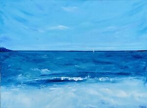 Ocean Painting Sailboat Seascape Original Canvas 18 by 24 In By Chernetsova $98.00