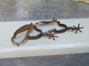 Vintage Western Cowboy Spurs w leather straps Mexican Marked 9647 Nice Patina