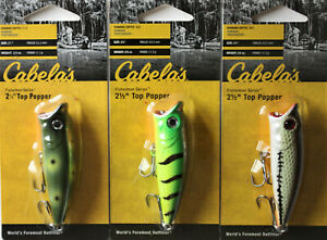 Cabelas Top Popper 2 5 oz. 2 1 2 quot; Lot of 3 Top Water popper Fishing lure